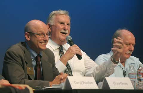 <strong>THROWING IT OUT THERE:</strong>  Councilmember Grant House (left) reacts as mayoral candidate Steve Cushman (center) suggests City Hall lease out or sell the Granada Garage to a private operator-and move the police department to City Hall-while council candidate John Gibbs Jr. (right) listens in.