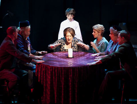 Lauren Flanigan as Myra conjures the dead in the premiere of Seance on a Wet Afternoon. Photo: David Bazemore for The Santa Barbara Independent