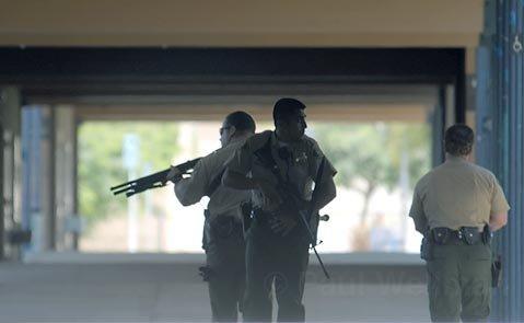 Santa Barbara sheriff's search the halls of San Marcos High School