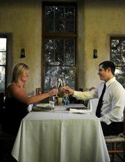 Stonehouse employees Erika and Justin prove just how romantic dining can get at the San Ysidro Ranch restaurant.