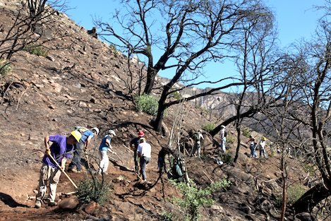 Volunteers support Forest Service crews in adding erosion control features to trails burned during the Jesusita Fire. Additional volunteers will be needed this winter to help maintain the recent work.