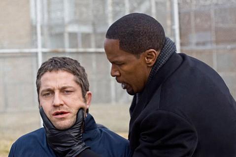 Gerard Butler (left) and Jamie Foxx star in <em>Law Abiding Citizen</em>.
