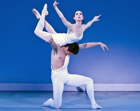 "Sara Ivan and Michael Cook in the <em>pas de deux</em> from Balanchine's 1928 ballet ""Apollo."""