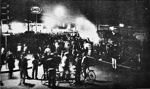 Burning police car during Isla Vista riot.