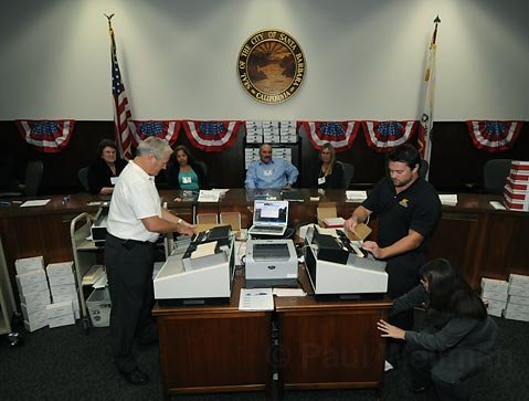 Vote counting machines at City Hall on election night, November 3, 2009.