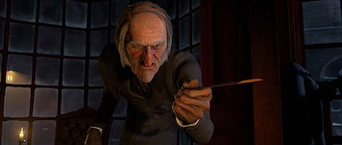 Jim Carrey voices Ebenezer Scrooge and the various Christmas ghosts in Robert Zemeckis's version of <em>A Christmas Carol</em>.