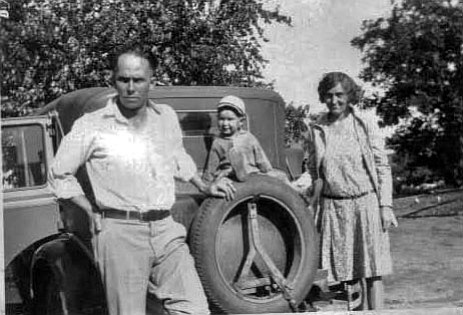 Donald with parents Bob and Gladys Giffin, and 1929 Chevrolet sedan.