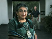 Ernestine Ygnacio-De Soto and anthropologist John Johnson at the Santa Barbara Museum of Natural History