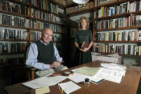 Ron Randall and Pia Oliver in one of the many book-filled rooms of the Gonzales-Ramirez House