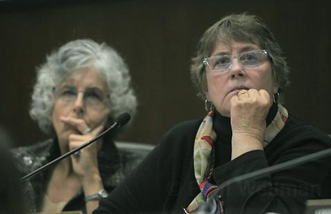 "<strong>DON'T BE MESSIN':</strong> Planning Commissioner Stella Larson (right) recalled phoning the Elings Park office to complain of noise and being told she wasn't hearing it. ""They were barking up the wrong lady with that remark,"" she said."