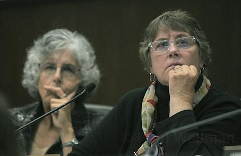 """<strong>DON'T BE MESSIN':</strong> Planning Commissioner Stella Larson (right) recalled phoning the Elings Park office to complain of noise and being told she wasn't hearing it. """"They were barking up the wrong lady with that remark,"""" she said."""