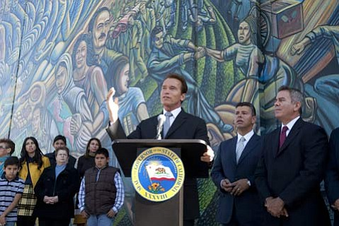 Governor Schwarzenegger holds a press conference with Senator Maldonado to announce the Senator's appointment to the position of Lieutenant Governor. From left to right: Governor Arnold Schwarzenegger, Senator Abel Maldonado (R-Santa Maria) and Appointments Secretary John Cruz.