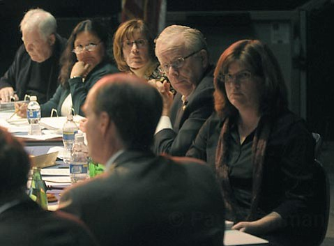 The School Board members listen to Superintendent Brian Sarvis's case for non-renewal of the Cesar Chavez School charter. From left: Bob Noel, Annette Cordero, Susan Deacon, Ed Heron, and Kate Parker.