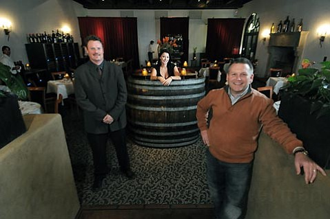 L to R Aaron Watty (wine director), Kerstin Caujolle (concierge manager), and Mitchell Sjerven (co-owner) welcome you to the reopened Wine Cask