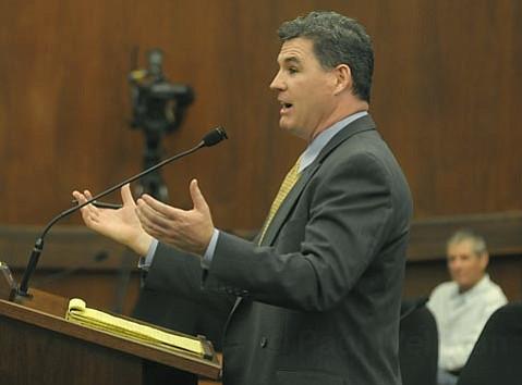 Paul O'Boyle, representing NextG, speaks before the County Board of Supervisors