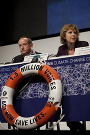 COP15 Executive Secretary Yvo de Boer, left, and Conference President Connie Hedegaard, right, address the media as the final phase of negotiations begin on Tuesday afternoon. Still hopeful, the two spent much of their time talking about how much still needs to be done.
