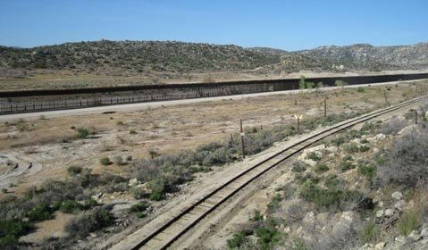 US-Mexico border fence just west of Jacumba, California.