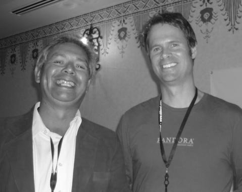Leo Schumaker and Pandora founder Tim Westergren.