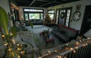The living room decorated for the holidays