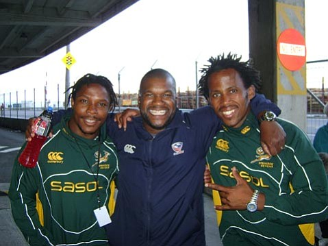 Kevin Battle with members of the Springboks.