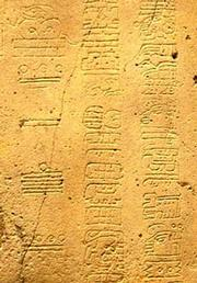 This is a small section of the glyphs carved into La Mojarra Stela 1. The left column shows the Long Count date of 8.5.16.9.7, or 156 AD (June 23, 156 AD by one calculation). The two right columns are glyphs from the little-known Epi-Olmec script also known as the Isthmusian or La Mojarra script.