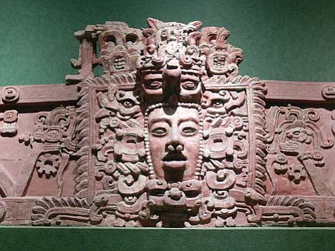 Maya mask. Stucco frieze from Placeres, Campeche.