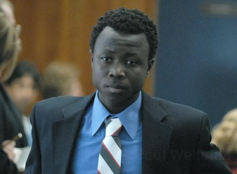 Eric Frimpong leaving his arraignment on Feb. 27, 2007