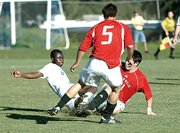 UCSB's Eric Frimpong (left) in a 2005 NCAA match against SDSU