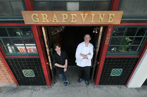 Grapevine co-owners Claudette Pentz and Chef Viktor Kerschbaumer at the shop's Canon Perdido Street location in July 2009.