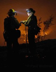 Crews battle the Jesusita Fire in 2009.