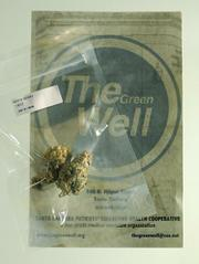 A sample of Green Well marijuana within its heat-sealed, bar-coded packaging