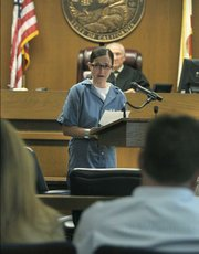 Cathy Latou apologizes to the Makela family and Santa Barbara Olive Co. employees before being sentenced