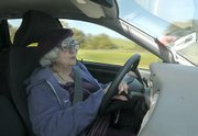 Even though she's turning 95 Selma Rubin can still be found in the fast lane on the 101 freeway