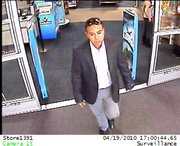 Male suspect shown leaving Best Buy