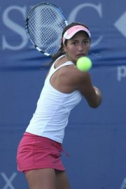 Emerging pro Alexandrina Naydenova, from Bulgaria, trains at the Oceanside School of Tennis.