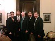 (left to right) John Houghtaling, Kevin Costner, John McCain, Andrew Quintero, Patrick Smith.