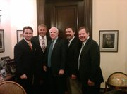 (left to right) John Houghtaling, Kevin Costner, John McCain, Andrew Quintero, Patrick Smith.