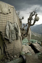 "Outpost (""OP"") Restrepo. – focus of the documentary <em>Restrepo</em> by Tim Hetherington and Sebastian Junger. Korengal Valley, Afghanistan, KunarProvince. 2008."