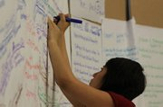 Maria Zamudio, Just Communities Project Specialist, adding to the Mind Map.
