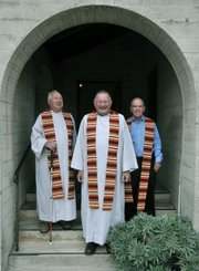 from left: Fathers Keith Forster, John Hydar, and Dudley Conneely.