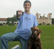 Peter Sklar, founder of Edhat, with Molly by the Santa Barbara Mission.