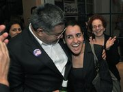 Salud Carbajal celebrates Monique Limon's win in her bid for a seat on the Santa Barbara School Board