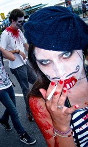 Author Rebecca Bachman dressed as  French zombie