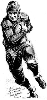 "Sports artist Tom ""Pap"" Paprocki depicted Jack Elder in all his 1930s football glory."