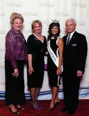 Lynn Berhens, VP of Operations, SBNL; Kathleen Branch; Arianna Afsar, Miss California; Dan Branch, President, Navy League of the United States