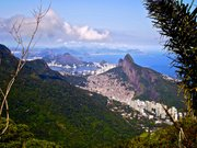 The view from near the top of Pedra de Gvea shows the favela Rocinha in the foreground in peace. Behind, the city extends north, where the violence was at the time of snapping the photo.