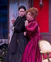 Joseph Fuqua as Jane Twisden (left) and Jamie Torcellini as Lady Enid Hillcrest, just two of the roles they play in <em>The Mystery of Irma Vep</em>.