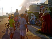 Brazilian families frequent this enormous nativity scene, exploring its nooks and crannies, taking photographs.