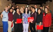 SBCC Superintendent/President Dr. Andreea Serban (far right) presented Health Professionals Institute certificates of completion to employees from Cottage Health System, Mentor Corporation, and Sansum Clinic.
