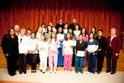 The first graduating class of Santa Barbara City College Continuing Education's Medical Assistant Training Program received Certificates of Completion on November 30.  Pictured with the students are: (from far left) Maria Lopez-Manzo, Student Program Advisor; Jack Bailey, Program Director Continuing Education; and Linette Brammer, Medical Assistant Training Program Instructor.  Also at the ceremony were (from far right) Bonita Schaffner, Dean Continuing Education; and Dr. Ofelia Arellano, Vice President Continuing Education.